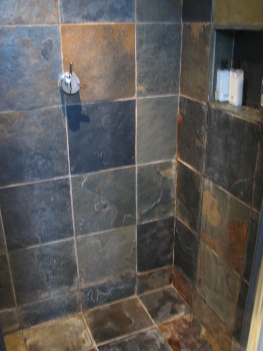 Finest The Shower Was All Slate Tile Even Floor With